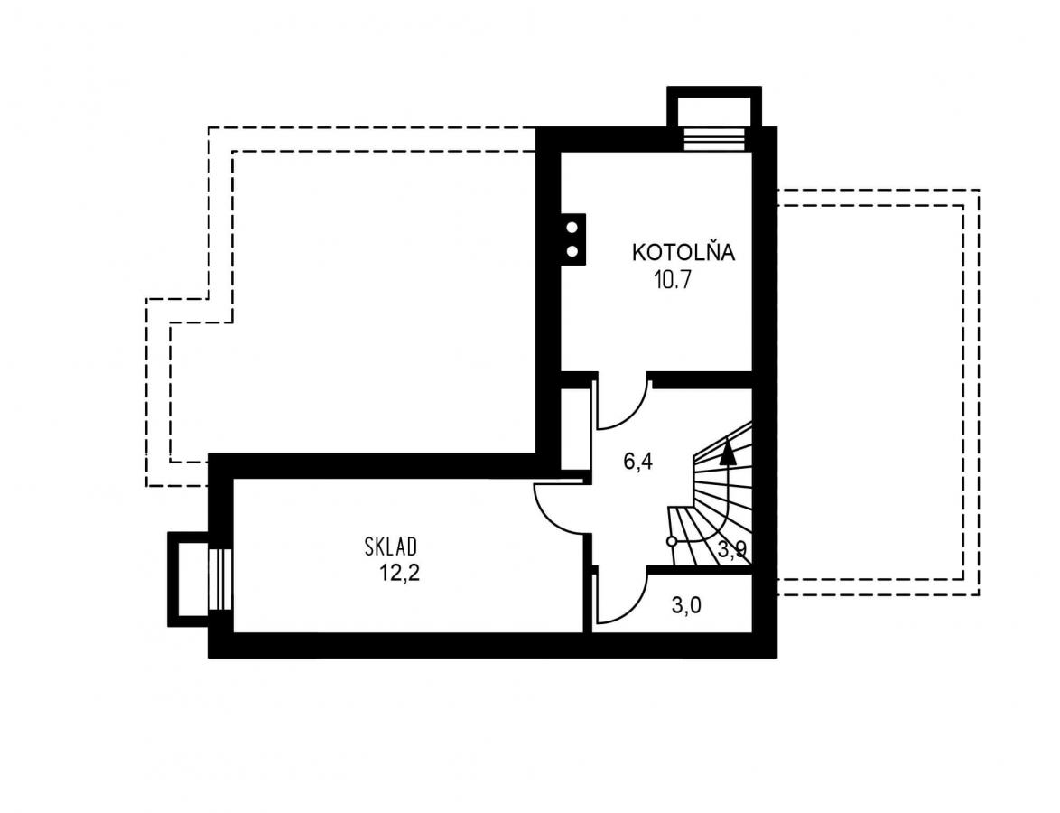 Pôdorys Suterénu - Poschodový dom so suterénom a izbou na prízemí.
