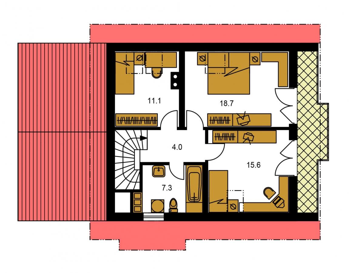 Pôdorys Poschodia - Poschodový dom so suterénom a izbou na prízemí.
