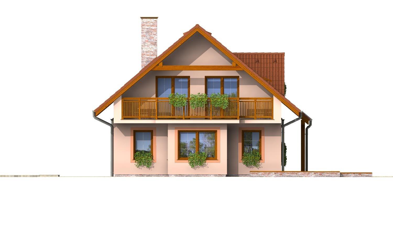 Pohľad 2. - Poschodový dom so suterénom a izbou na prízemí.