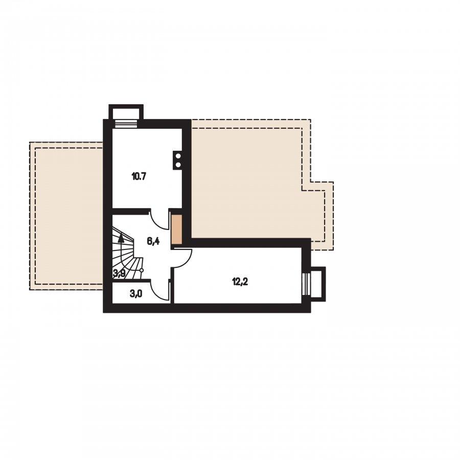 Pôdorys Suterénu - Poschodový dom s izbou na prízemí