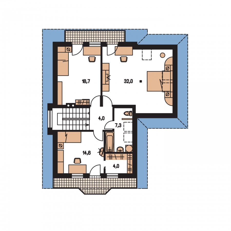 Pôdorys Poschodia - Klasický dom s podpivničením