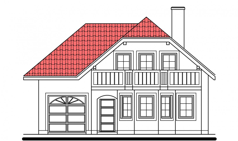 Pohľad 1. - Klasický dom s podpivničením.