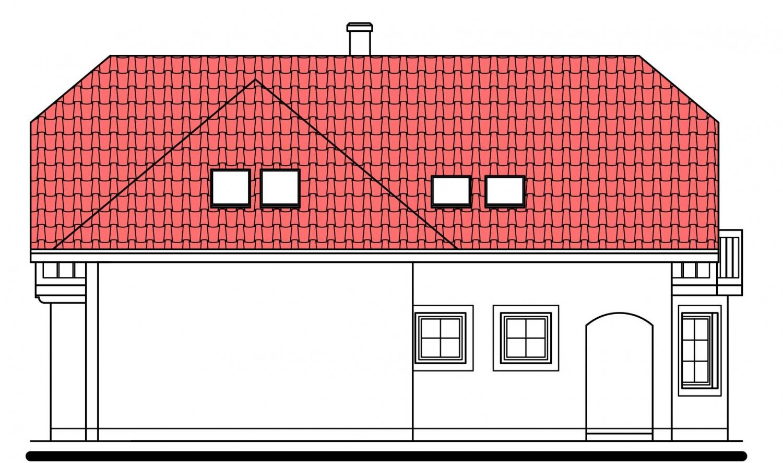 Pohľad 4. - Klasický dom s podpivničením.