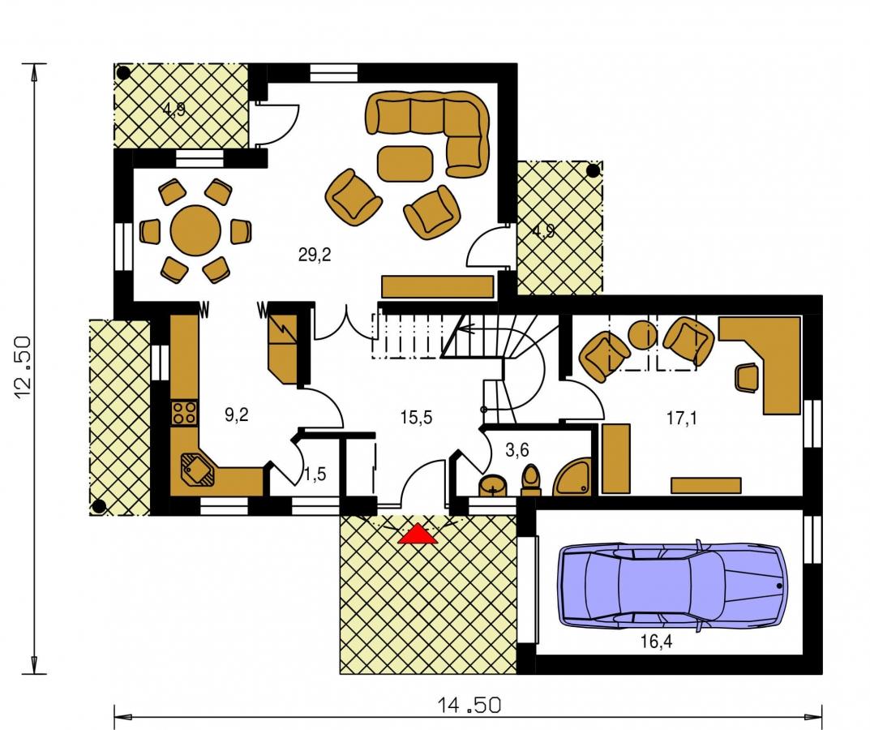 Pôdorys Prízemia - Dom s pracovňou alebo izbou na prízemí.