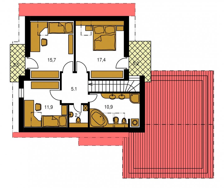 Pôdorys Poschodia - Dom s pracovňou alebo izbou na prízemí.