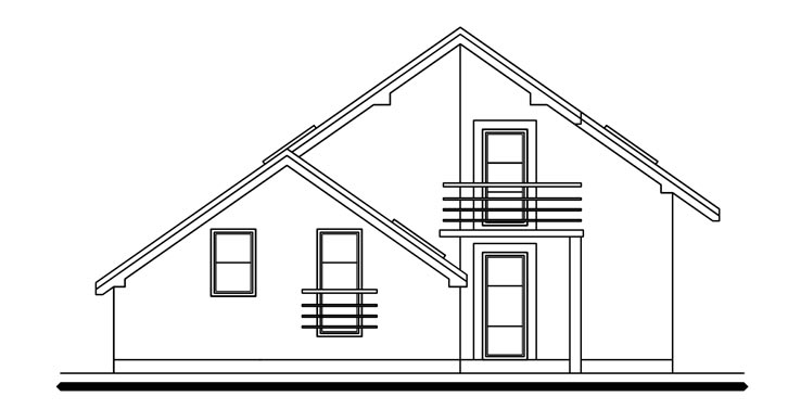 Pohľad 1. - Dom s pracovňou alebo izbou na prízemí.