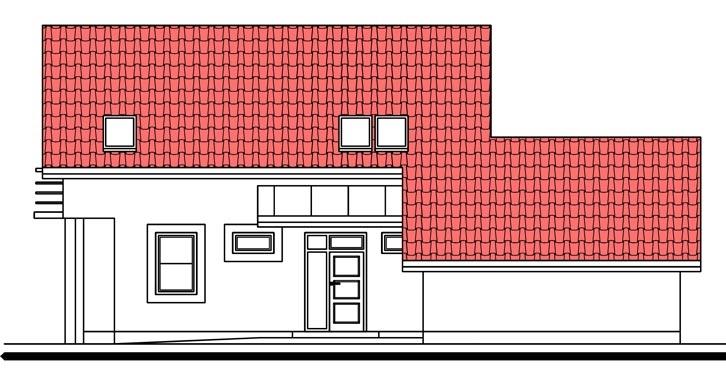 Pohľad 2. - Dom s pracovňou alebo izbou na prízemí.