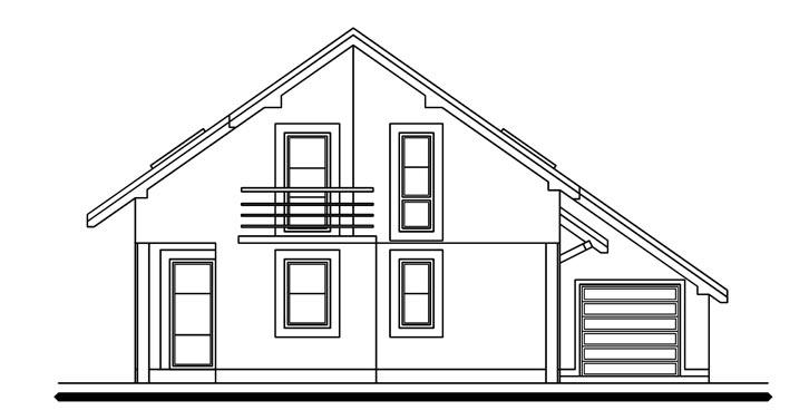 Pohľad 3. - Dom s pracovňou alebo izbou na prízemí.