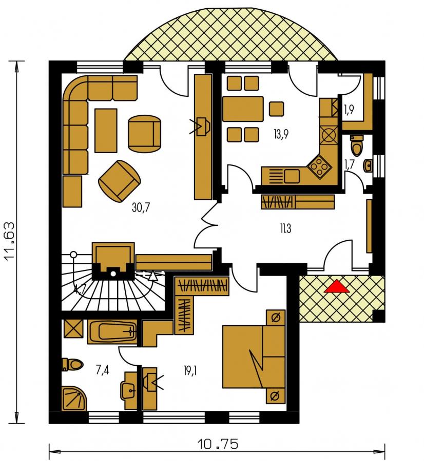 Pôdorys Prízemia - Veľký dom s izbou aj na prízemí vhodný pre bývanie 5-6 člennej rodiny.