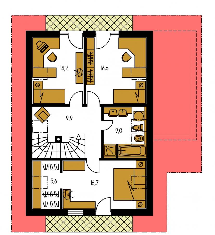 Pôdorys Poschodia - Veľký dom s izbou aj na prízemí vhodný pre bývanie 5-6 člennej rodiny.
