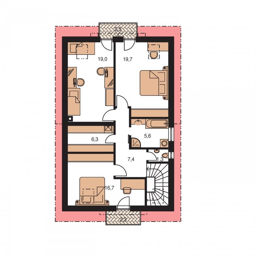 Pôdorys Poschodia - Krásny dom s garážou aj na úzky pozemok.