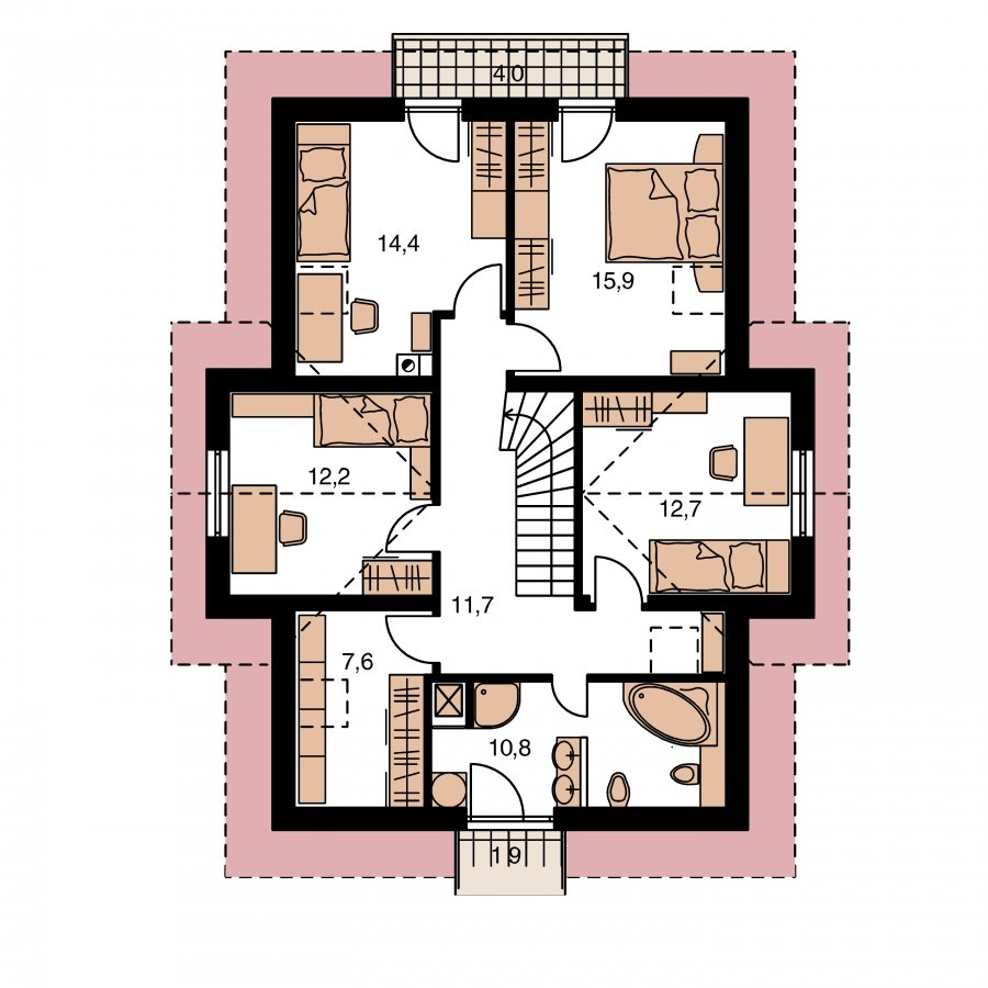 Pôdorys Poschodia - Dom s oddelenou kuchyňou a izbou na prízemí