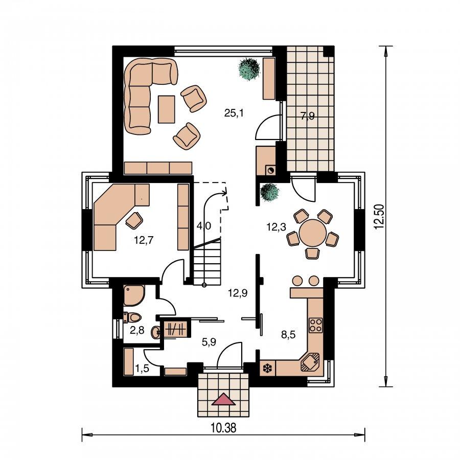 Pôdorys Prízemia - Dom s oddelenou kuchyňou a izbou na prízemí