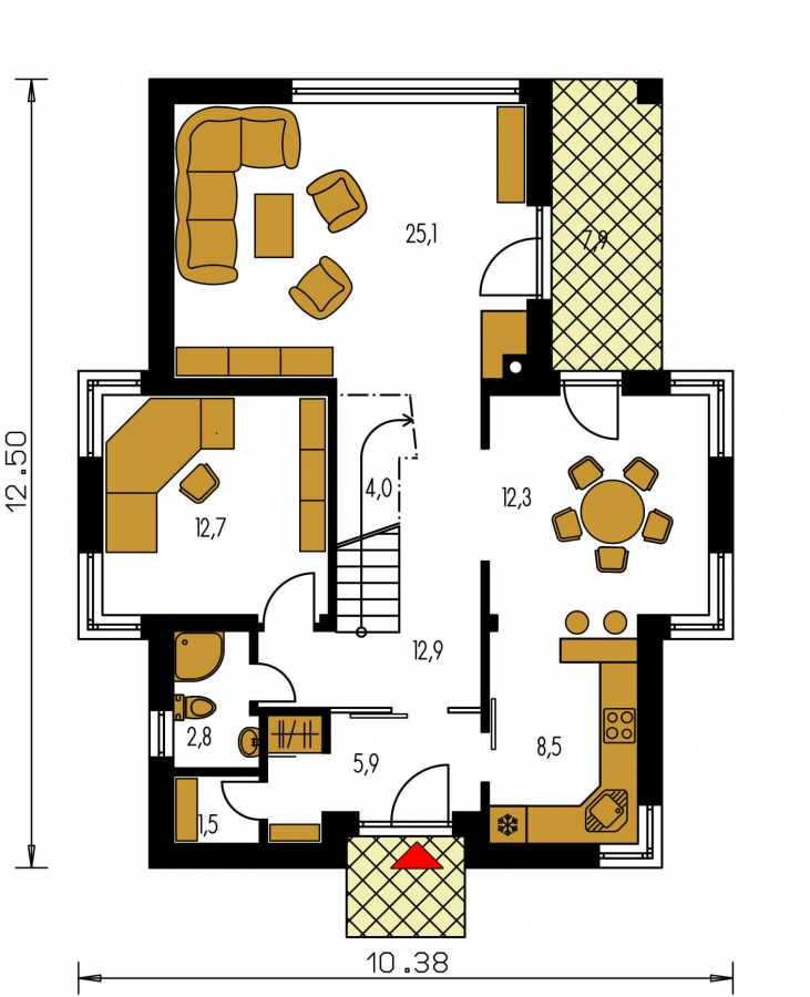 Pôdorys Prízemia - Dom s oddelenou kuchyňou a izbou na prízemí.