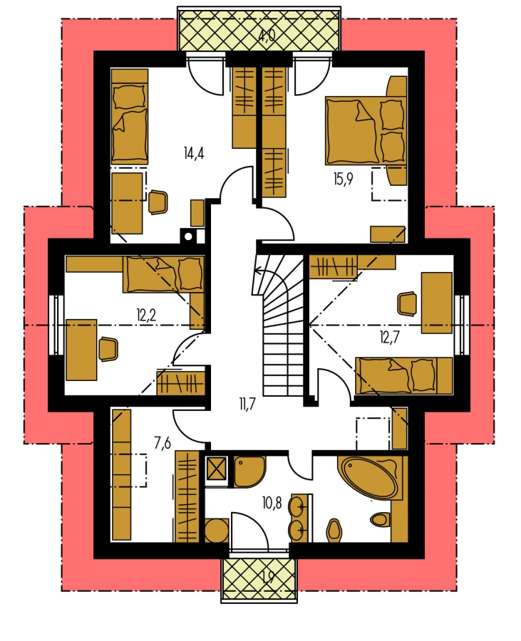 Pôdorys Poschodia - Dom s oddelenou kuchyňou a izbou na prízemí.
