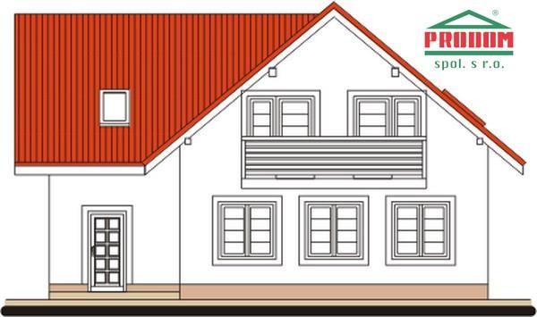 Pohľad 3. - 5-izbový rodinný dom s garážou.