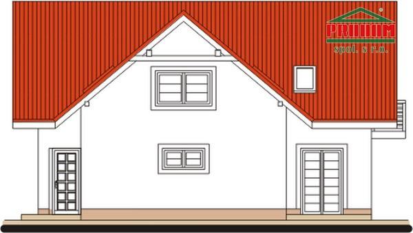 Pohľad 4. - 5-izbový rodinný dom s garážou.