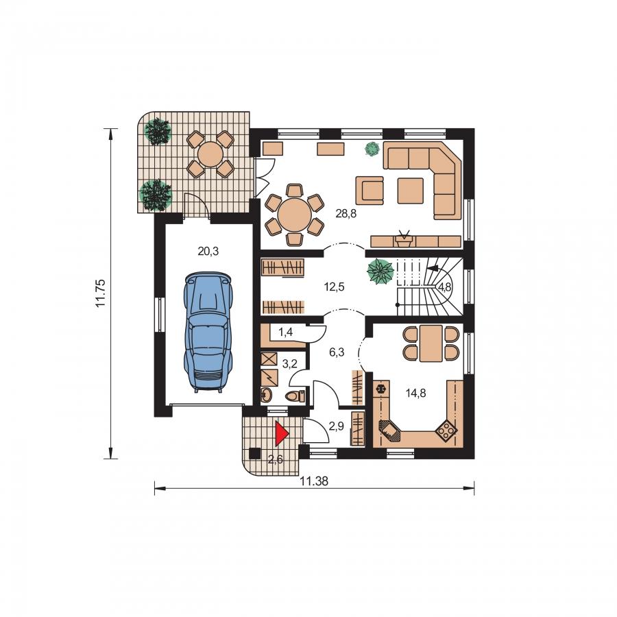 Pôdorys Prízemia - 5-izbový rodinný dom s garážou.