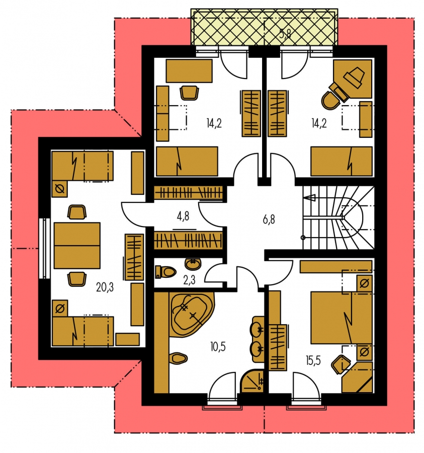 Pôdorys Poschodia - 5-izbový rodinný dom s garážou.
