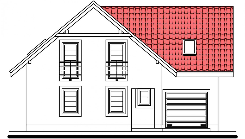 Pohľad 1. - 5-izbový rodinný dom s garážou.