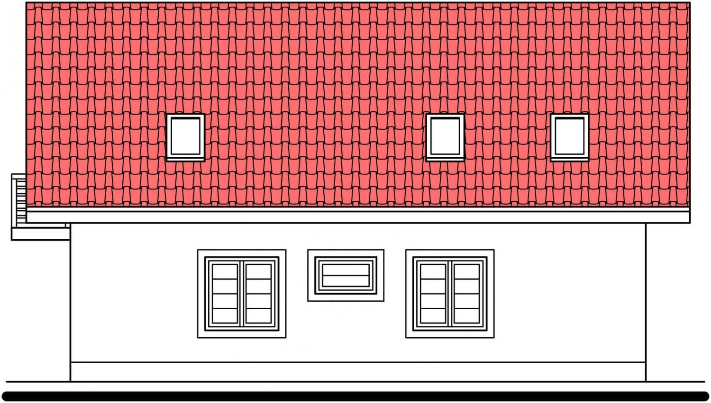 Pohľad 2. - 5-izbový rodinný dom s garážou.
