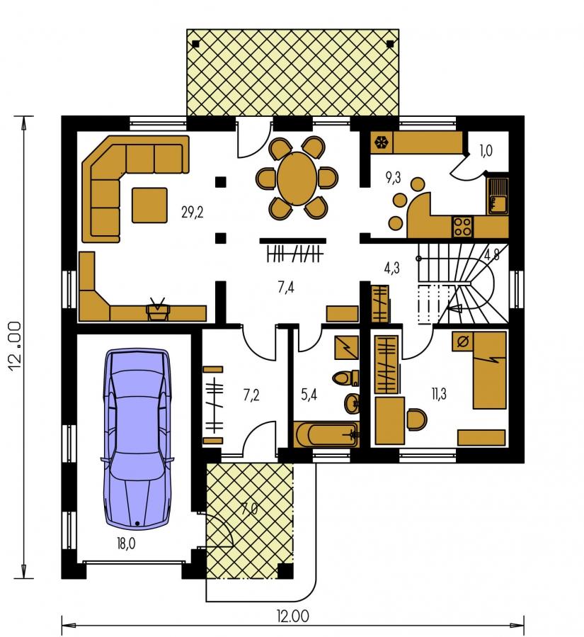 Pôdorys Prízemia - Veľký rodinný dom s garážou a izbou aj na prízemí.