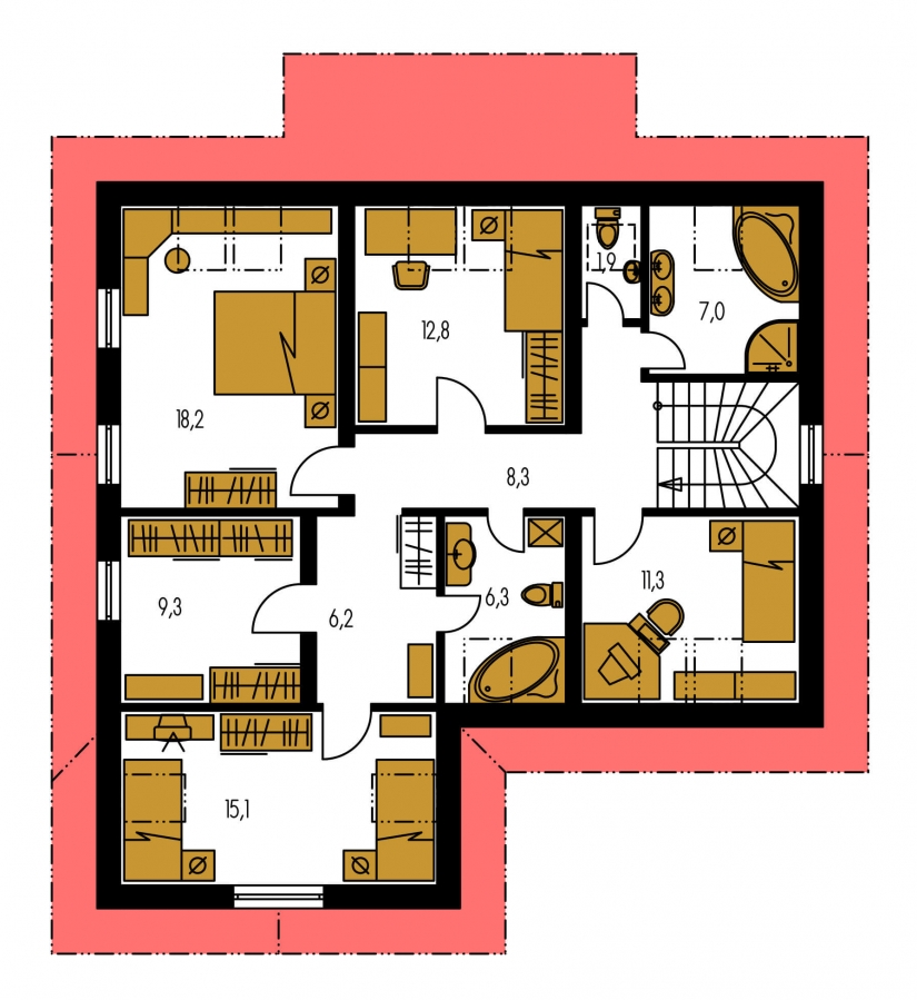 Pôdorys Poschodia - Veľký rodinný dom s garážou a izbou aj na prízemí.