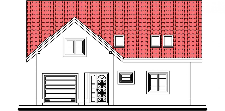 Pohľad 1. - Veľký rodinný dom s garážou a izbou aj na prízemí.