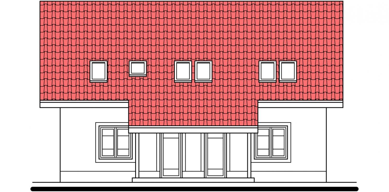 Pohľad 3. - Veľký rodinný dom s garážou a izbou aj na prízemí.