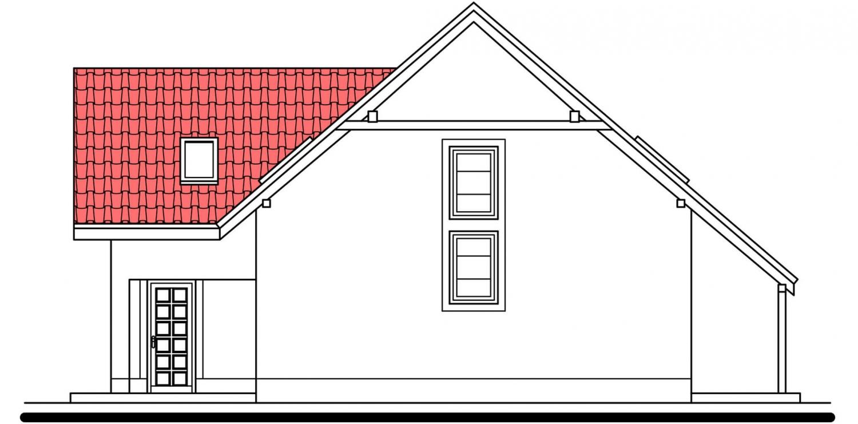 Pohľad 4. - Veľký rodinný dom s garážou a izbou aj na prízemí.