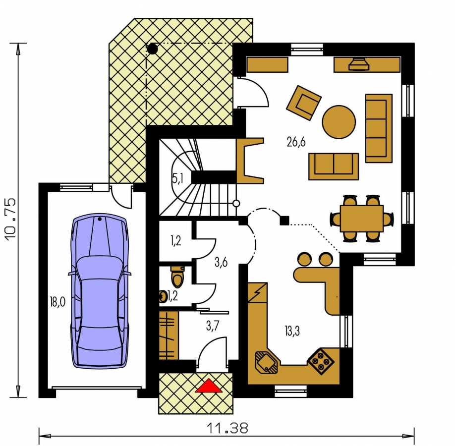 Pôdorys Prízemia - Poschodový rodinný dom s garážou.