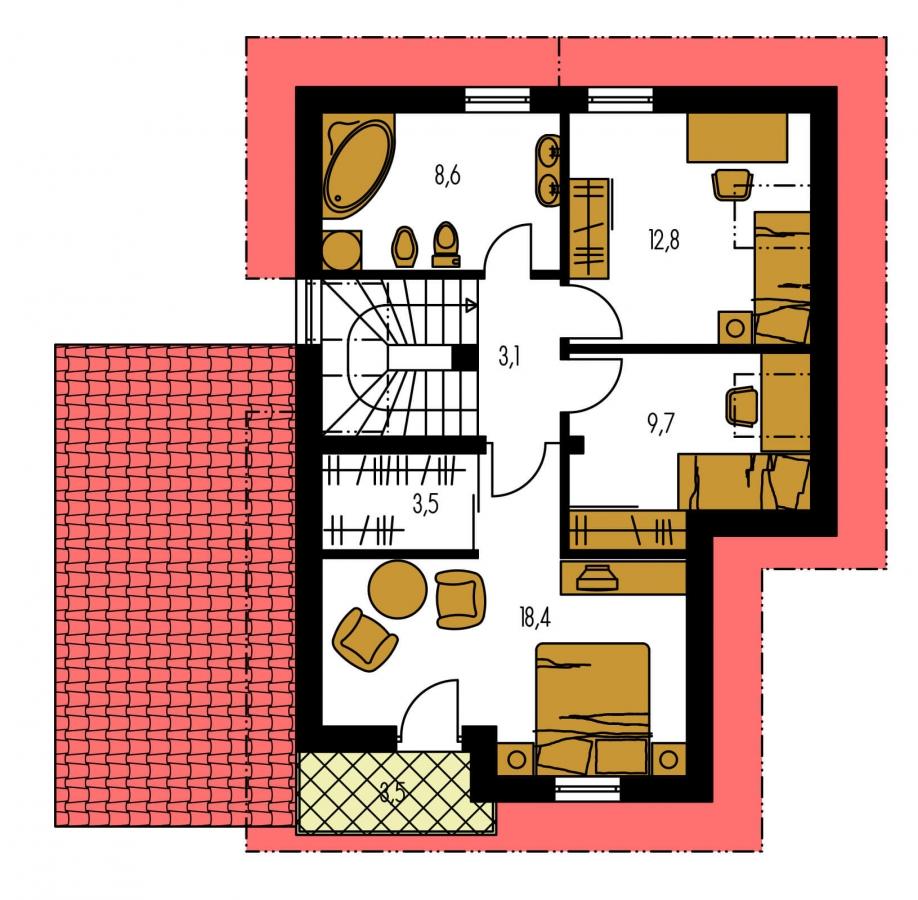 Pôdorys Poschodia - Poschodový rodinný dom s garážou.