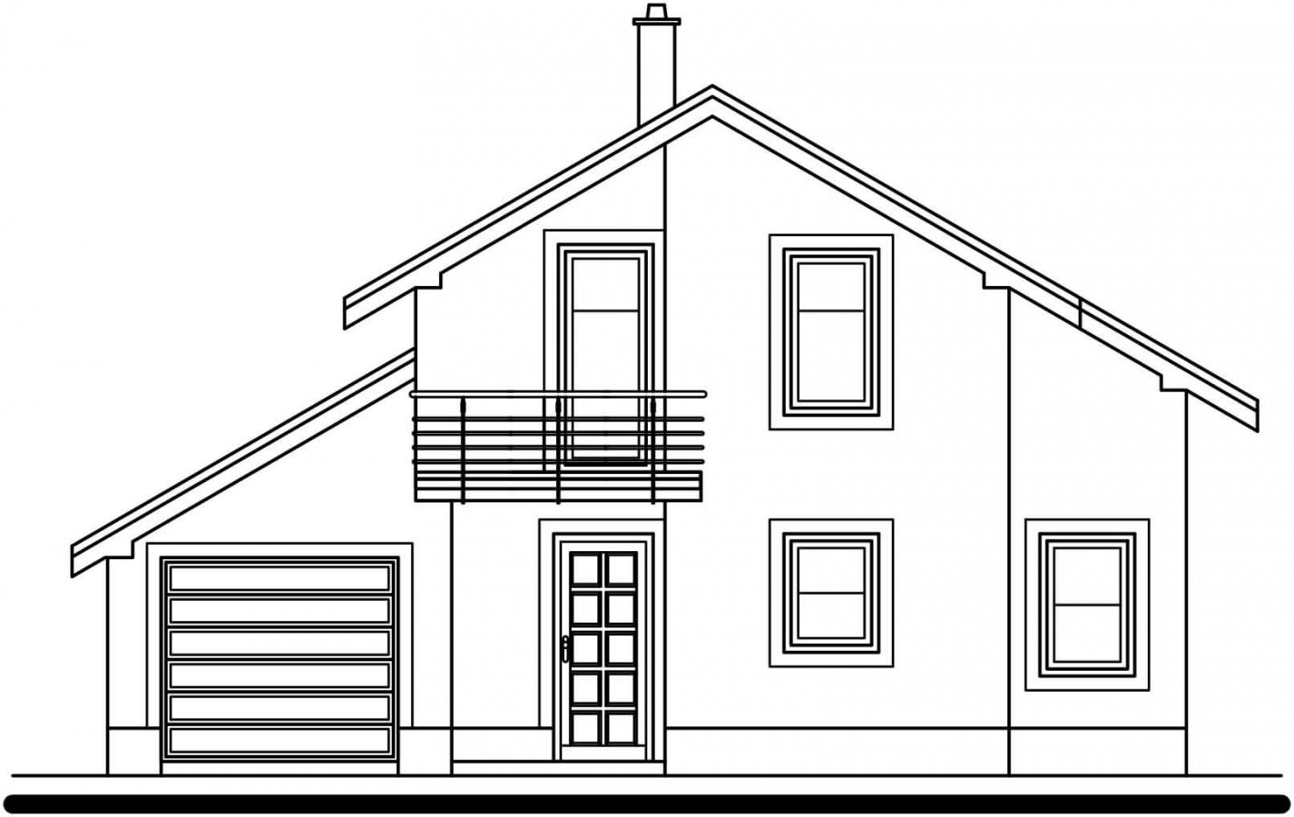 Pohľad 1. - Poschodový rodinný dom s garážou.