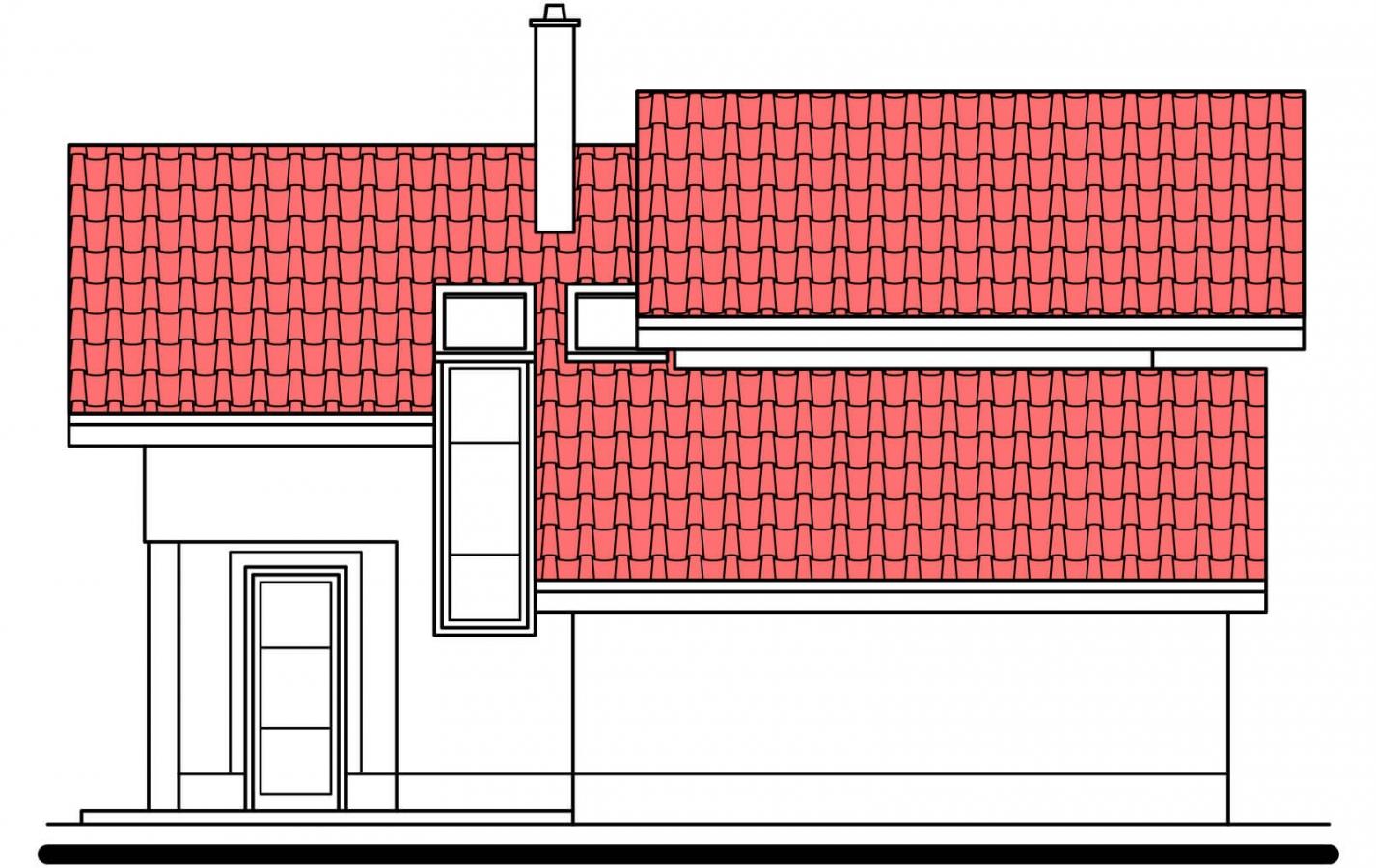 Pohľad 2. - Poschodový rodinný dom s garážou.