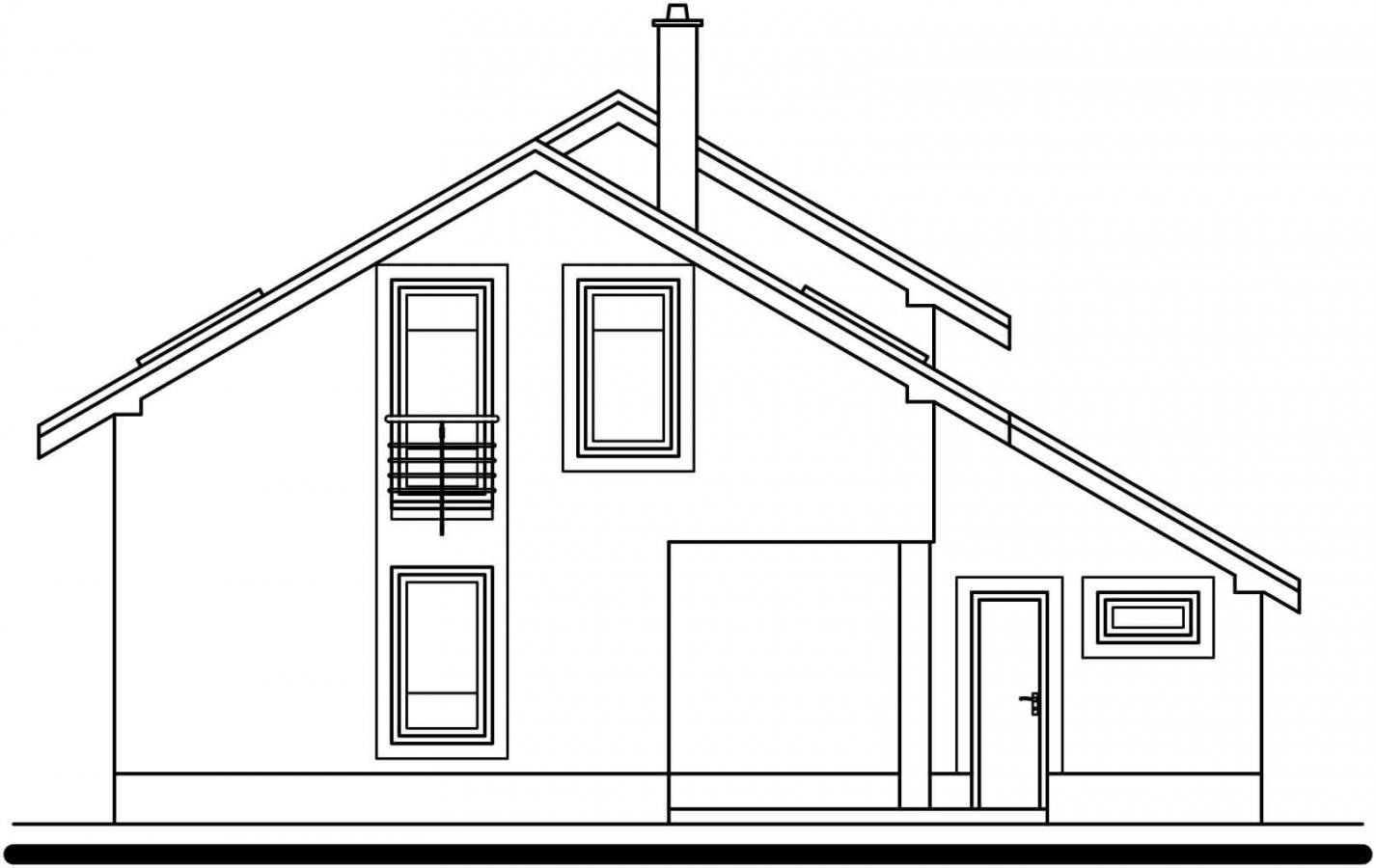 Pohľad 3. - Poschodový rodinný dom s garážou.