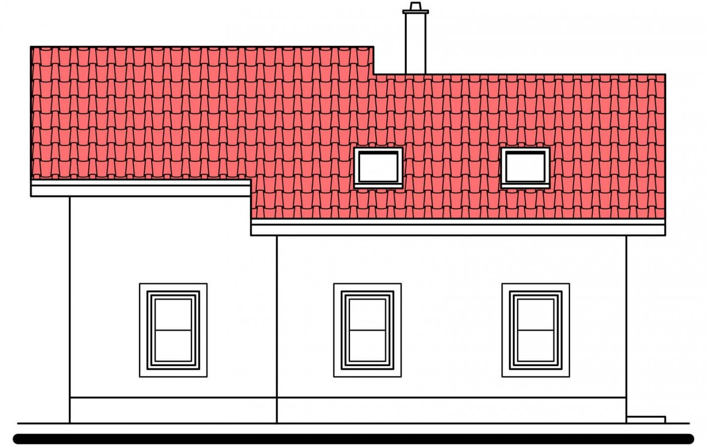 Pohľad 4. - Poschodový rodinný dom s garážou.