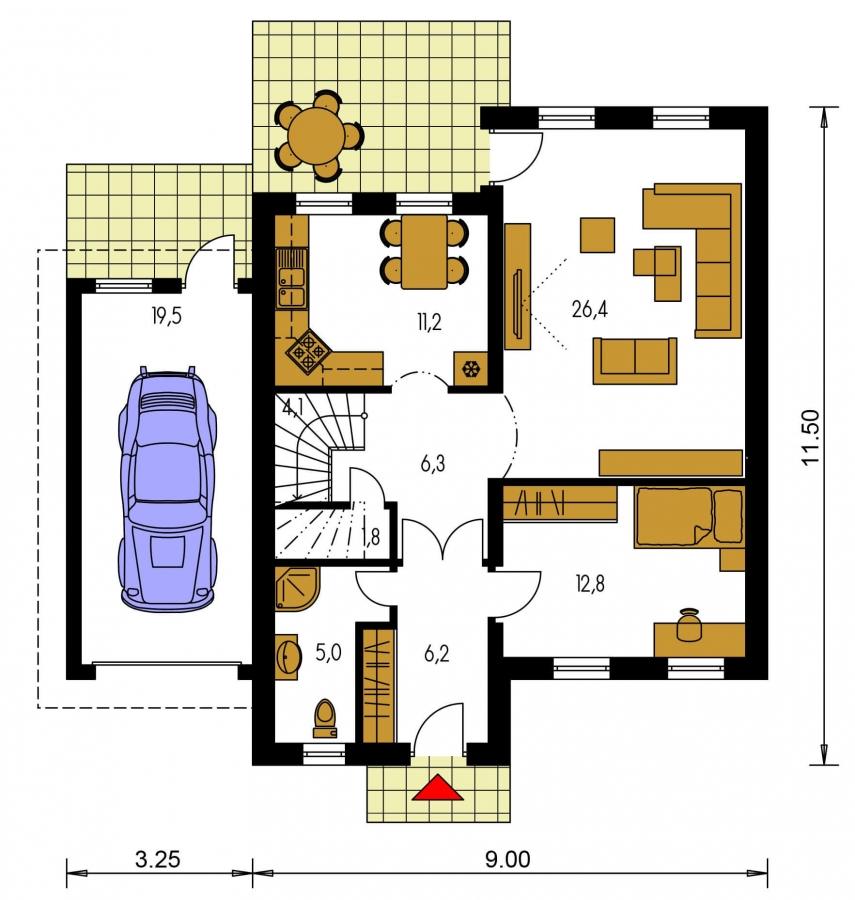 Pôdorys Prízemia - Poschodový dom s izbou na prízemí a garážou.