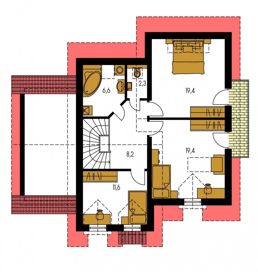 Pôdorys Poschodia - Poschodový dom s izbou na prízemí a garážou.