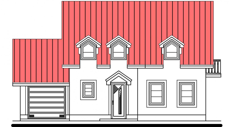 Pohľad 1. - Poschodový dom s izbou na prízemí a garážou.