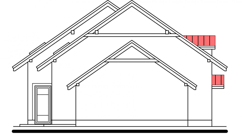 Pohľad 2. - Poschodový dom s izbou na prízemí a garážou.