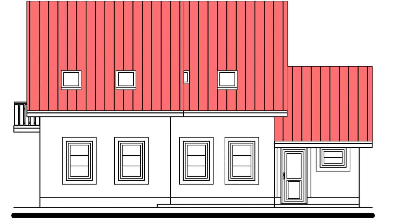 Pohľad 3. - Poschodový dom s izbou na prízemí a garážou.