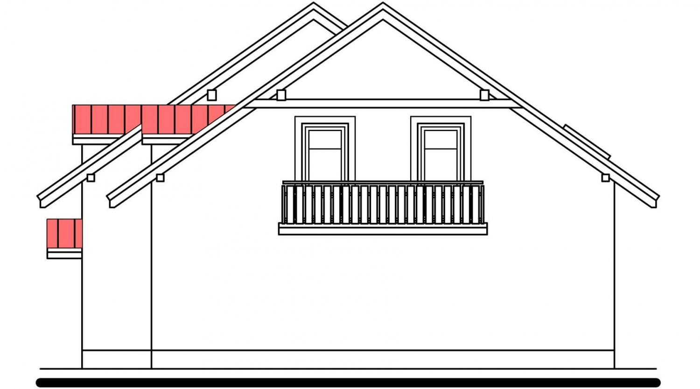 Pohľad 4. - Poschodový dom s izbou na prízemí a garážou.