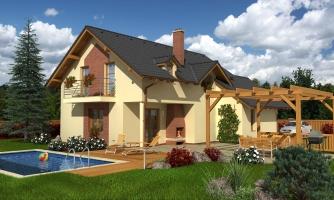 Projekt 5-izbového domu s izbou na prízemí