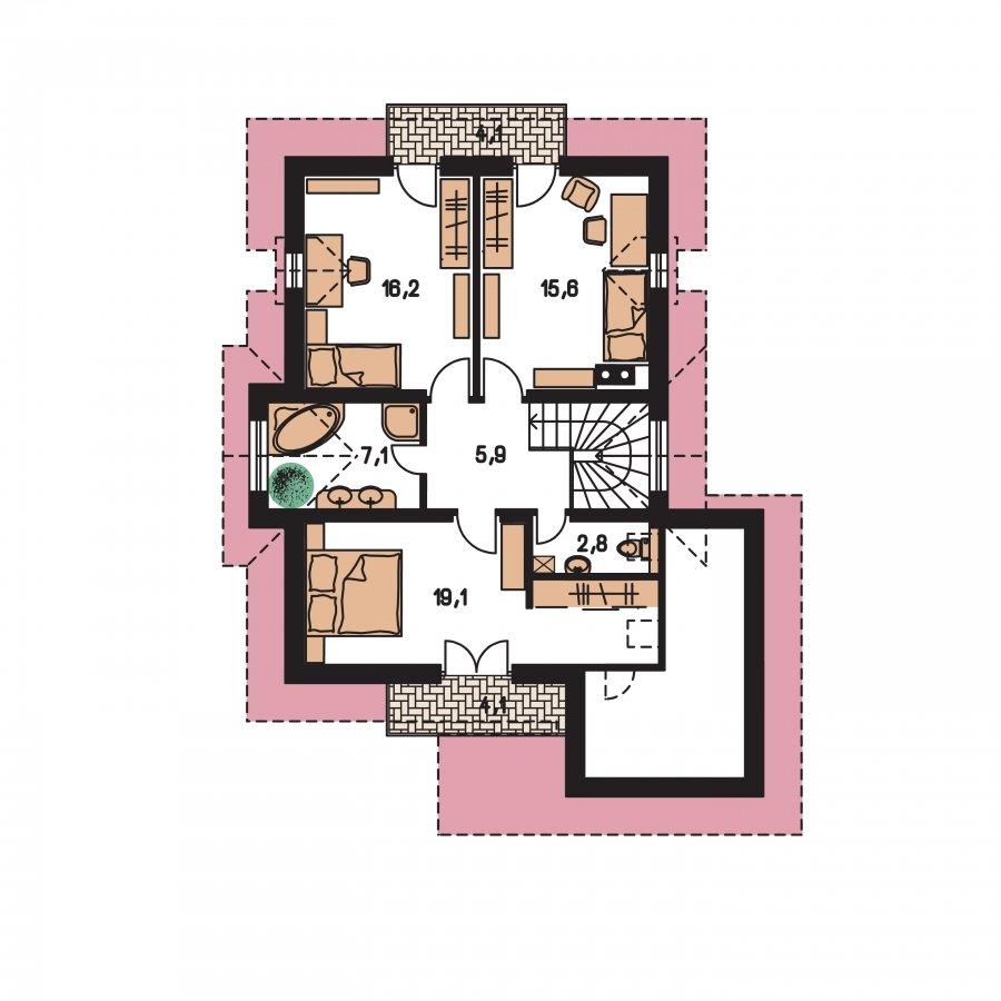 Pôdorys Poschodia - Projekt 5-izbového domu s izbou na prízemí