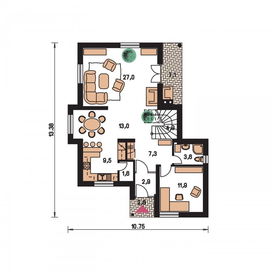 Pôdorys Prízemia - Projekt 5-izbového domu s izbou na prízemí