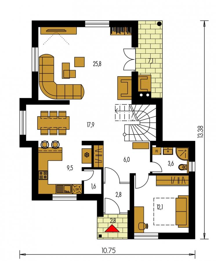 Pôdorys Prízemia - Projekt 5-izbového domu s izbou na prízemí.