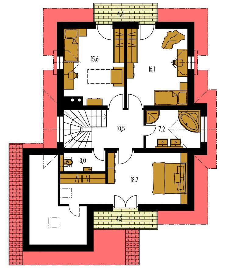 Pôdorys Poschodia - Projekt 5-izbového domu s izbou na prízemí.