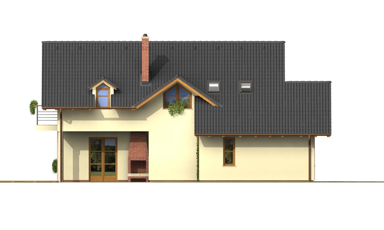 Pohľad 2. - Projekt 5-izbového domu s izbou na prízemí
