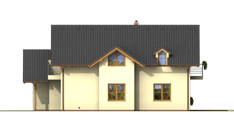 Pohľad 4. - Projekt 5-izbového domu s izbou na prízemí