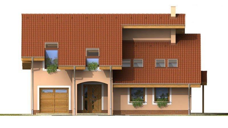Pohľad 1. - Presvetlený dom s izbou na prízemí a garážou.